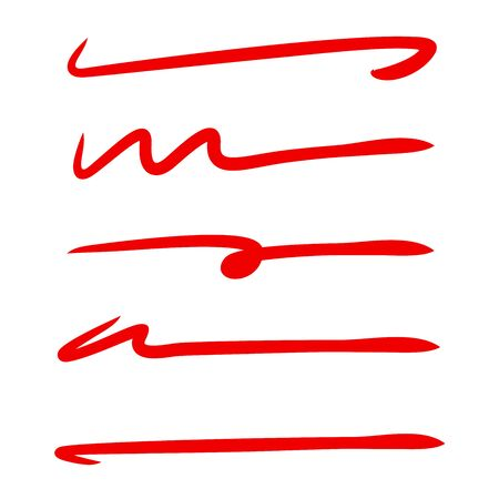 red hand drawn brush line stroke set for underline text