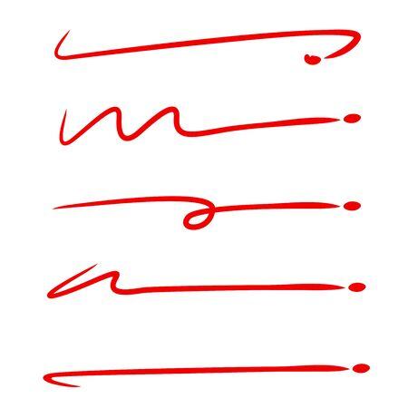 red hand drawn brush line stroke set for underline text Stock Vector - 127953405