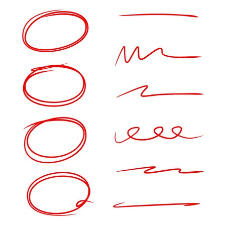 red hand drawn sketch underline and circle marker for highlight text not Stock Vector - 127953406