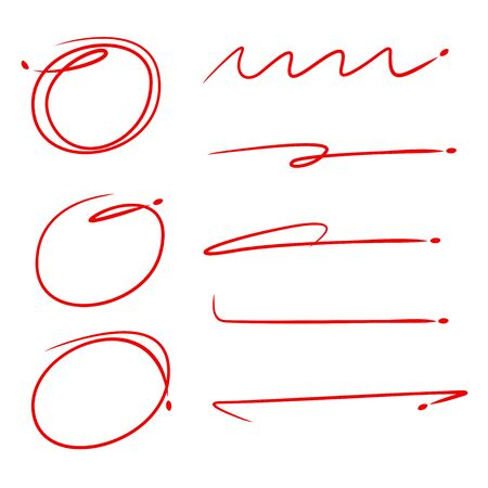 red hand drawn sketch underline and circle marker for highlight text not