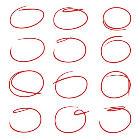 red circle ink brush for highlight and marking text Illustration