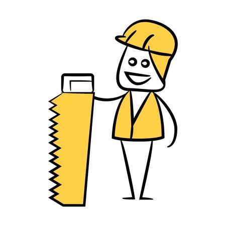 carpenter holding saw yellow doodle design Illusztráció