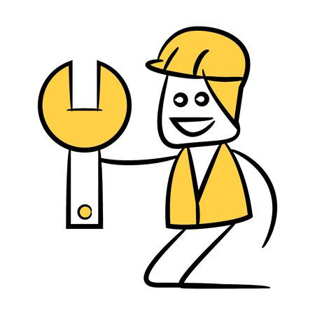 engineer or service man holding wrench tool yellow doodle design