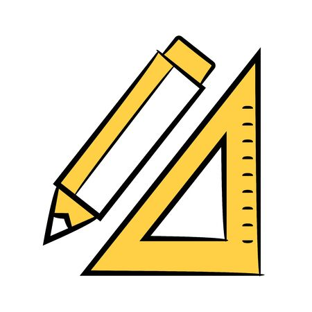 pencil and ruler yellow color design theme Illustration