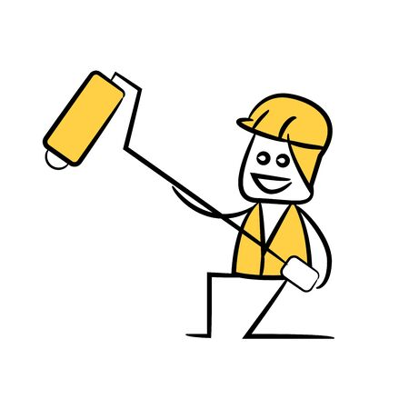 engineer or service man  holding painting roller in yellow theme