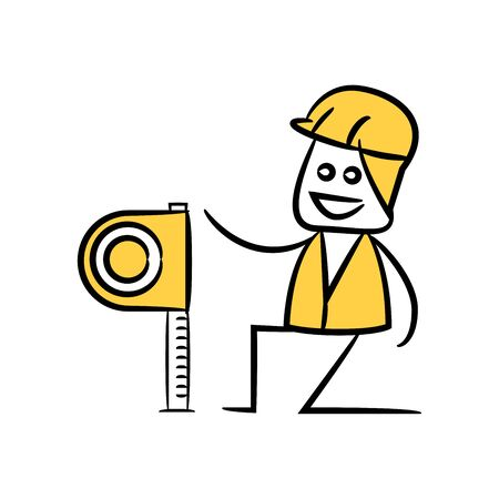 engineer or service man using measuring tape in yellow theme