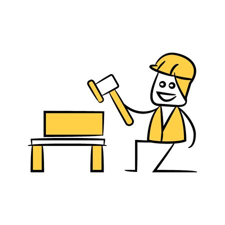 carpenter or service man holding hammer in yellow theme