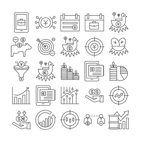 fund management and finance icons set line design Stock Vector - 132931949