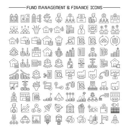 fund and portfolio management, finance icons set line design  イラスト・ベクター素材