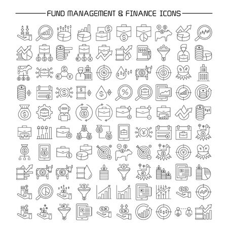 fund and portfolio management, finance icons set line design Illustration