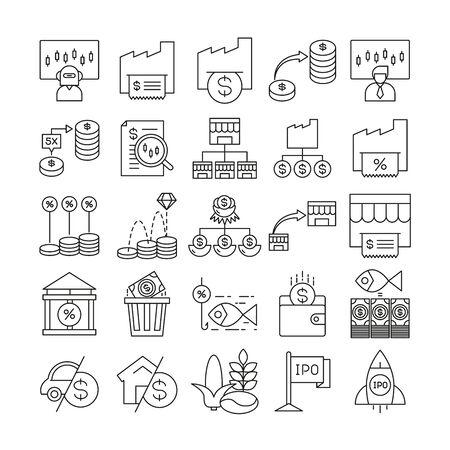 Fondsmanagement- und Finanzsymbole setzen Liniendesign Vektorgrafik
