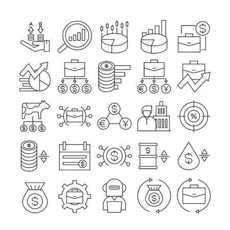 fund management and finance icons set line design