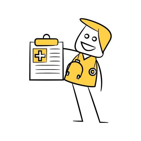 doctor and prescription yellow stick figure Illustration