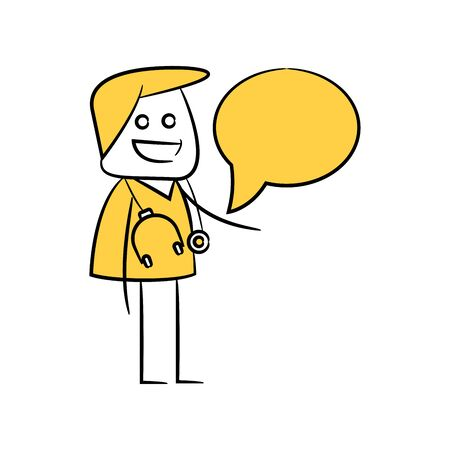 doctor character and speech bubble yellow stick figure Illustration