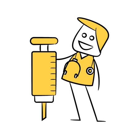doctor and syringe yellow stick figure