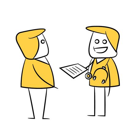 doctor talking with patient yellow stick figure