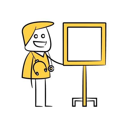 doctor and whiteboard character yellow stick figure Illustration