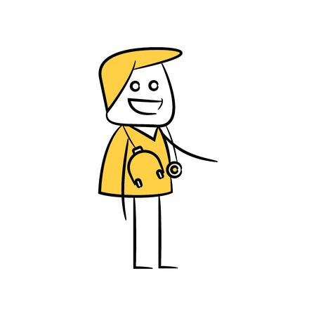 doctor character yellow stick figure