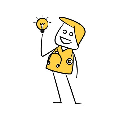 doctor and light bulb character yellow stick figure