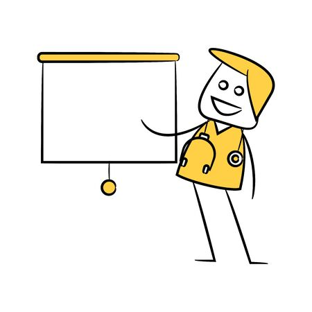 doctor and white board present yellow stick figure