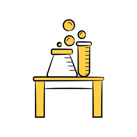 flask and science tube on table icon yellow color theme 일러스트