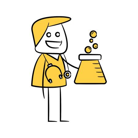 doctor holding flask yellow stick figure