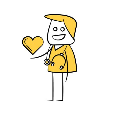 doctor character and heart yellow stick figure
