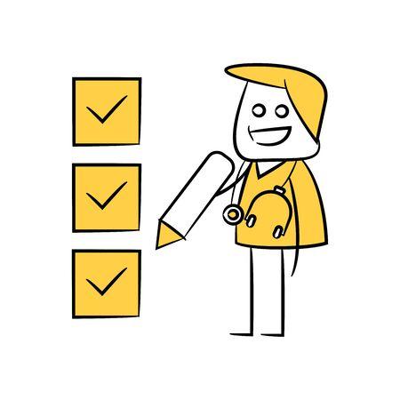 doctor writing check list yellow stick figure