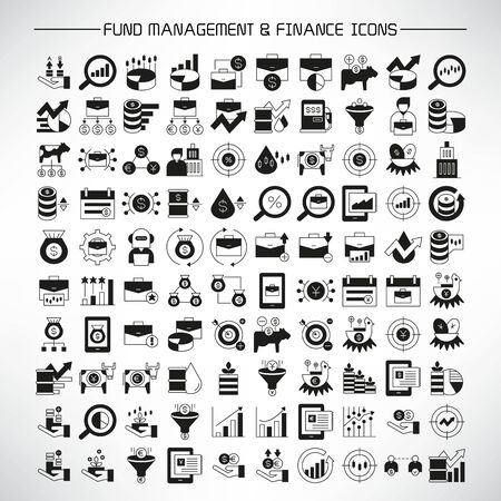 set of fund management, investment and finance icons