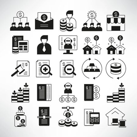 finance and fund management icons Vettoriali