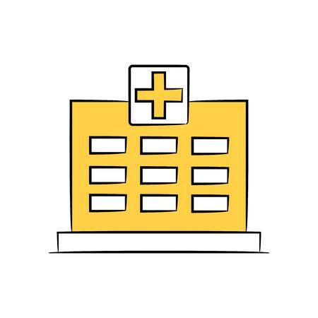 hospital icon in yellow theme Standard-Bild - 134143659