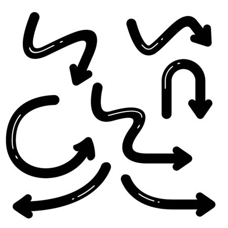 black curve arrows comic style