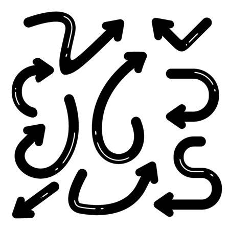 doodle arrows icons set comic style