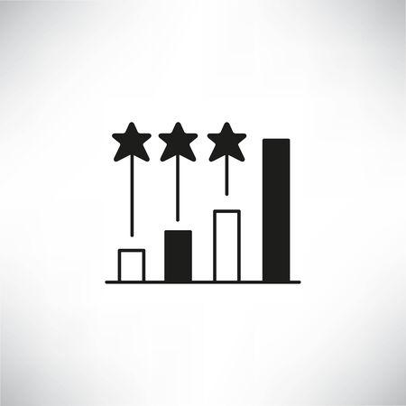 Balkendiagramm und Stern für Investmentranking oder Benchmark-Konzeptsymbol Vektorgrafik