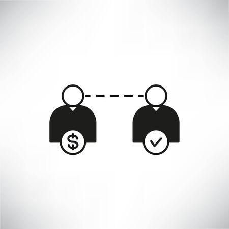 people with money and check mark for peer to peer lending concept