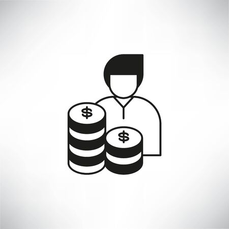 people and pile of money for investor or venture capitalist concept icon