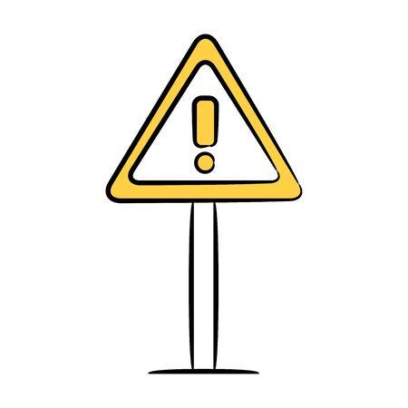 warning signage icon yellow hand drawn theme