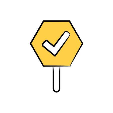 check mark signage icon yellow hand drawn theme Çizim