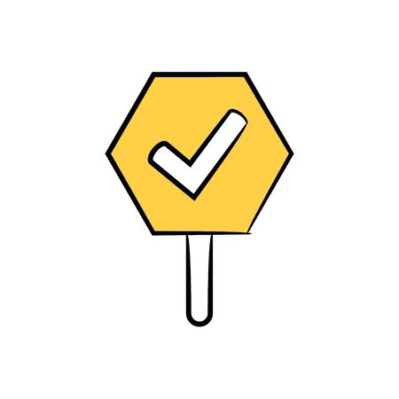 check mark signage icon yellow hand drawn theme Illustration