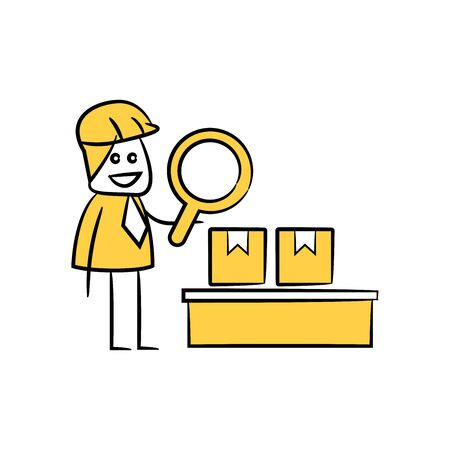 engineer using magnifier checking packaging process icon stick figure yellow theme