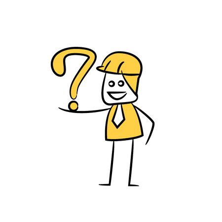 engineer and question mark icon stick figure yellow theme