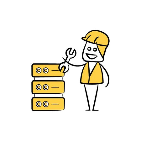 engineer fixing router icon stick figure yellow theme