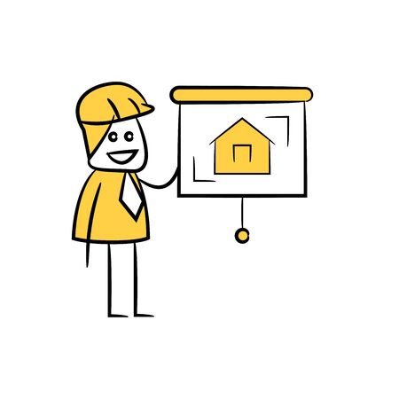 engineer or architect and presentation home design icon stick figure yellow theme