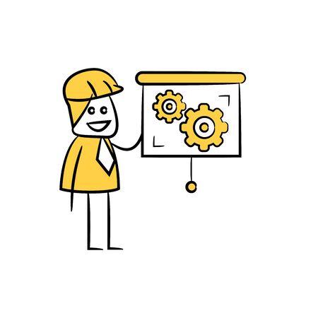 engineer present gears on slide screen icon stick figure yellow theme