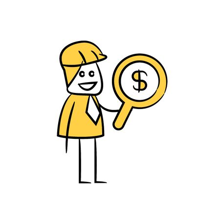 engineer using magnifier searching money dollar sign icon stick figure yellow theme