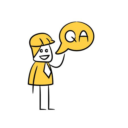 engineer and question answer message icon stick figure yellow theme