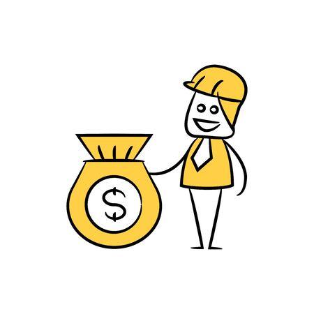 engineer and money sack icon stick figure yellow theme Illustration