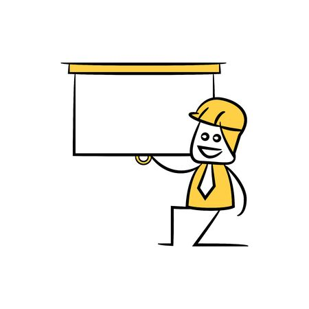 engineer worker and presentation screen icon stick figure yellow theme