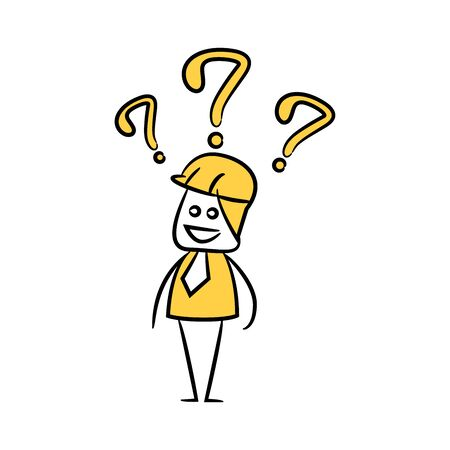 engineer worker with question marks icon stick figure yellow theme Ilustração