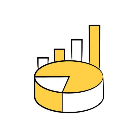pie chart and bar graph yellow doodle theme